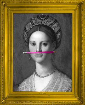 'The Pink Pencil' Canvas 'The Pink Pencil' Canvas
