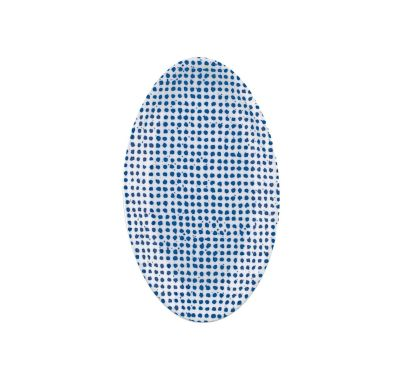 The White Snow Agadir - Oval Serving Plate 1 Blue Pattern
