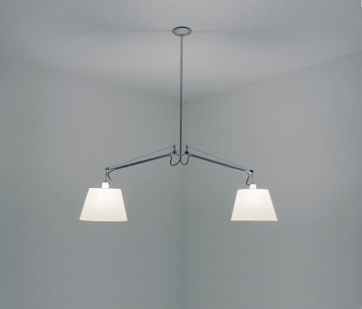 Tolomeo Basculante 2 Bracci Suspension Light 42 cm - parchment paper