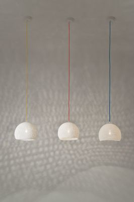 Trama Pendant Light 14x21cm, Orange Fluo