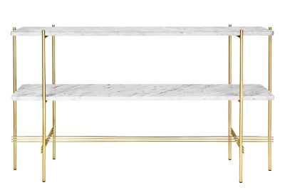 TS Rectangular Console Table with Two Marble Plates Gubi Marble Bianco Carrara, Frame Brass