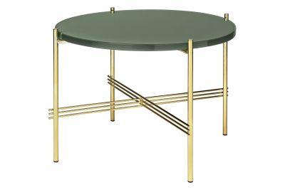 TS Round Coffee Table with Glass Top - Brass Frame Gubi Glass Rusty Red, Gubi Metal Brass, Ø40x51 cm