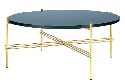 TS Round Coffee Table with Glass Top - Brass Frame Gubi Glass Grey Blue, Gubi Metal Brass, Ø80x35 cm