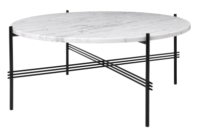 TS Round Coffee Table with Marble Top in Black Frame Gubi Marble Bianco Carrara, Gubi Metal Black, Ø80x35 cm