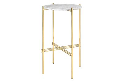 TS Round Console Table with Marble Top Gubi Marble Bianco Carrara, Gubi Metal Brass