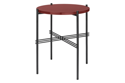 TS Round Side Table with Glass Top Rusty Red Top and Black Frame, Ø 40 x 51 cm