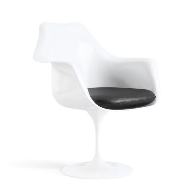 Tulip Armchair with Seat Cushion White, Tonus Ivory 100T, Fixed