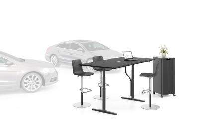 Tyde Meeting Sit-stand Meeting Table, 200 x 100 melamine soft light, with 1x cable outlet PORT - aluminium soft light powder-coated / plastic soft light, 1x Current Module power, white powder-coated, polyester fleece green, infinitely variable with handse