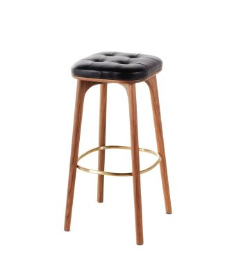 Utility Barstool Caress Black Leather, 76cm