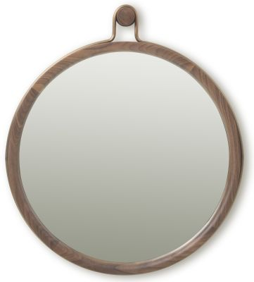 Utility Round Mirror Walnut Brown Stained Ash, Large