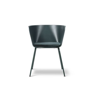 Verve 4 Leg seat upholstered Ancient Green, Leather 90 Nature, Chrome Steel Steel