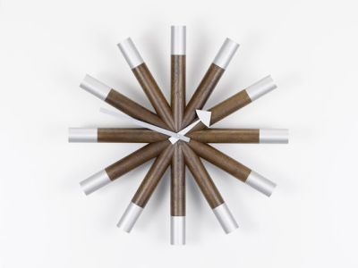 Wheel Clock walnut/aluminium