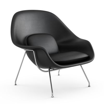 Womb Relax Chair Polished Chrome, Volo Black VOBLK, Down filled