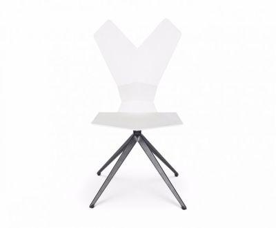Y Chair Swivel Base White Shell, Black Base