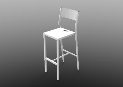 Zef Up Aluminium Bar Chair 75, White