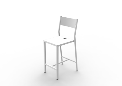 Zef Up Aluminium Bar Chair 65, White