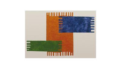 Zigo Zago Rectangular Carpet Fixed colour matching natural white background, orange, green and blue pattern.