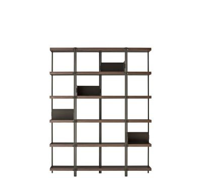 Zigzag High Bookcase Bronze with Canaletto Walnut Shelves