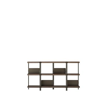 Zigzag Low Bookcase Bronze with Canaletto Walnut Shelves