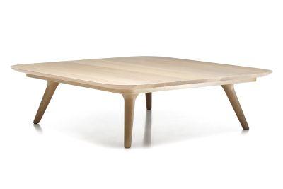 Zio Coffee Table - Square White Wash Top, Cinnamon Base