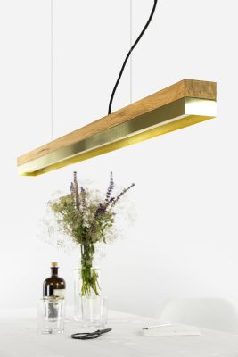 [C1o] BRASS - Dimmable LED - Oak & Brass Pendant Light Non-dimmable