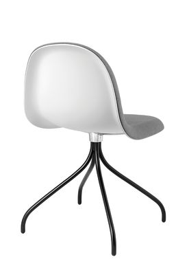 Gubi 3D Dining Chair Swivel Base - Front Upholstered Gubi HiRek Black, Tyg Eros 1 Wine 1313, Gubi Metal Black