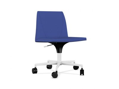 Plate 50 5 base Chair with Castors A7244 - Field 762 blue, White lacquered aluminium, Black Plastic, Same on upholstery