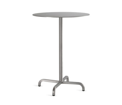 20-06 Round bar table Laminate Top, Matte Aluminium Edge, 106 x 60 cm