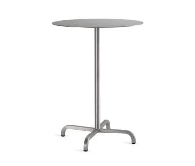20-06 Round bar table Laminate Top, Matte Aluminium Edge, 106 x 60 cm