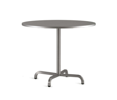 20-06 Round cafe table Laminate Top, Matte Aluminium Edge, 76 x 76 cm