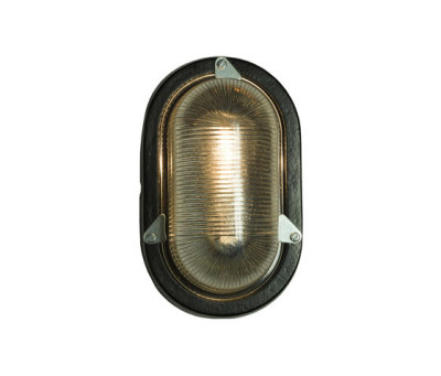 7001 Oval Aluminium Bulkhead for GLS, Painted Black by Davey Lighting Limited