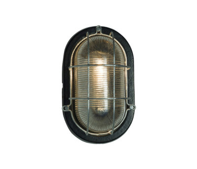 7003 Oval Aluminum Bulkhead, with Guard for GLS, Painted Black by Davey Lighting Limited
