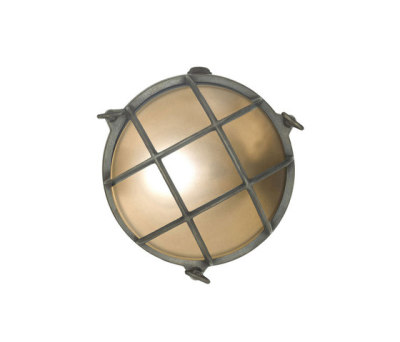 7028 Brass Bulkhead with Internal Fixing Points, Weathered Brass by Davey Lighting Limited