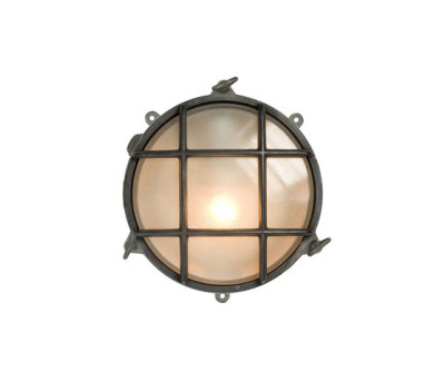7030 Brass Bulkhead with External Fixing via Feet, Weathered Brass by Davey Lighting Limited