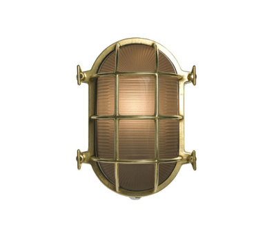 7035 Oval Brass Bulkhead with Internal Fixing, Polished Brass by Davey Lighting Limited