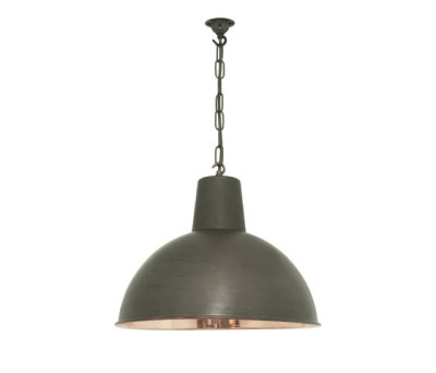 7164 Spun Reflector, Medium, Weathered Copper, Polished Copper Interior by Davey Lighting Limited