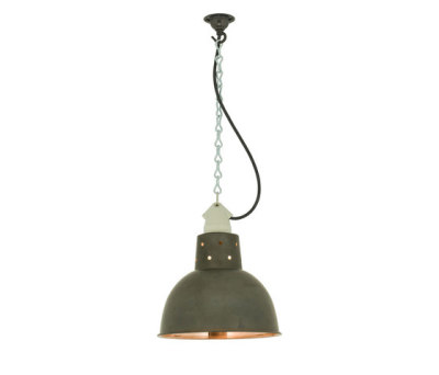 7165 Spun Reflector with Suspension Lampholder, Weathered Copper/Polished Copper by Davey Lighting Limited