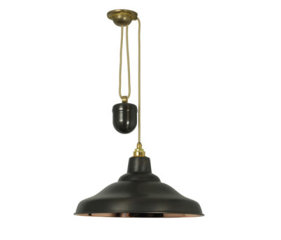 7200 Rise & Fall School Light, Weathered Copper, Polished Copper Interior by Davey Lighting Limited