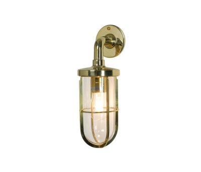 7207 Weatherproof Ship's Well Glass, Polished Brass, Clear Glass E27 by Davey Lighting Limited