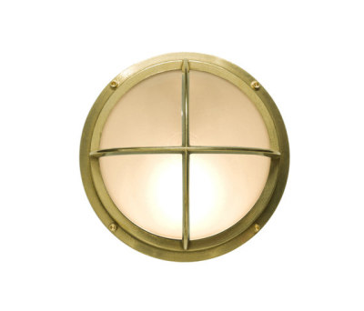 7226 Brass Bulkhead With Cross Guard, Polished Brass by Davey Lighting Limited