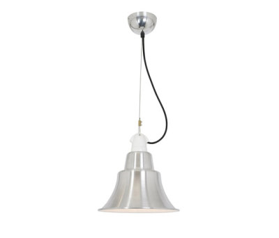 7245 Zoe Pendant, Polished Aluminium, White Interior by Davey Lighting Limited