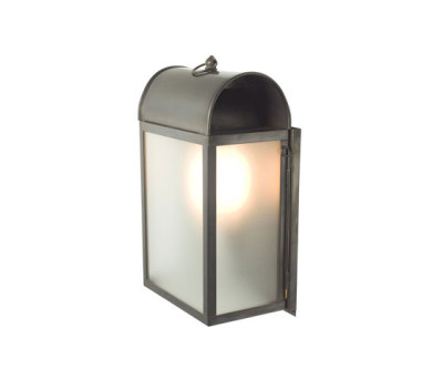 7250 Domed Box Wall Light, Weathered Brass, Frosted Glass by Davey Lighting Limited