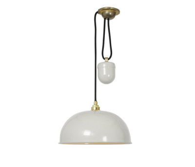 7300 Dome Rise & Fall Pendant, Putty Grey, White Interior by Davey Lighting Limited