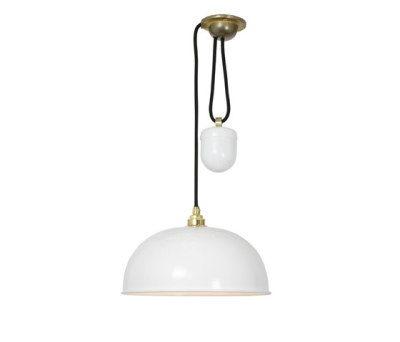 7300 Dome Rise & Fall Pendant, White by Davey Lighting Limited