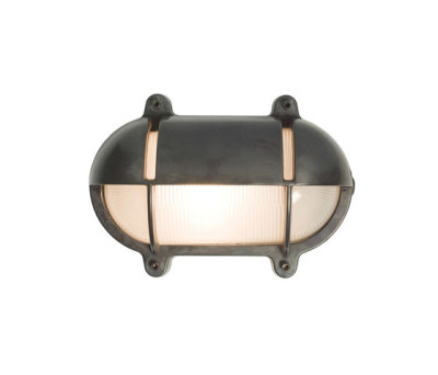 7435 Oval Brass Bulkhead With Eyelid Shield, Medium, Weathered Brass by Davey Lighting Limited