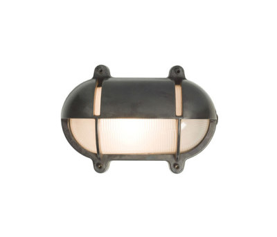 7436 Oval Brass Bulkhead With Eyelid Shield, Small, Weathered Brass by Davey Lighting Limited