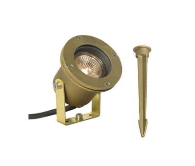 7604 Spotlight for Submerged or Surface use, Ground Spike, Brass by Davey Lighting Limited