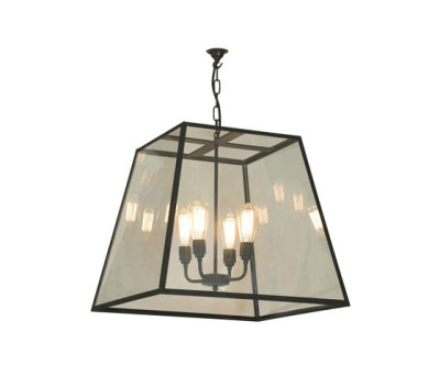 7636 Quad Pendant, XL and 4 Lamp Holders, Weathered Brass, Clear Glass by Davey Lighting Limited