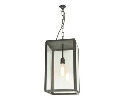 7638 Square Pendant, External Glass, Closed Top, Weathered Brass, Clear Glass by Davey Lighting Limited