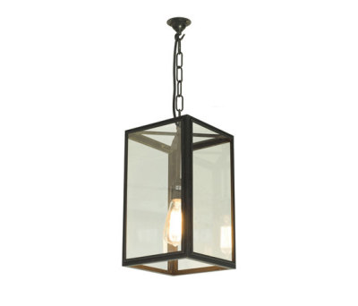 7639 Square Pendant, External Glass, Weathered Brass, Clear Glass by Davey Lighting Limited